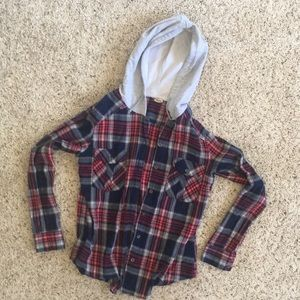 plaid jacket with gray hood